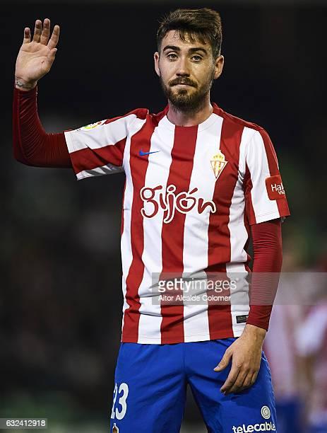 Moises Gomez of Sporting de Gijon looks on during La Liga match between Real Betis Balompie and Real Sporting de Gijon at Benito Villamarin Stadium...