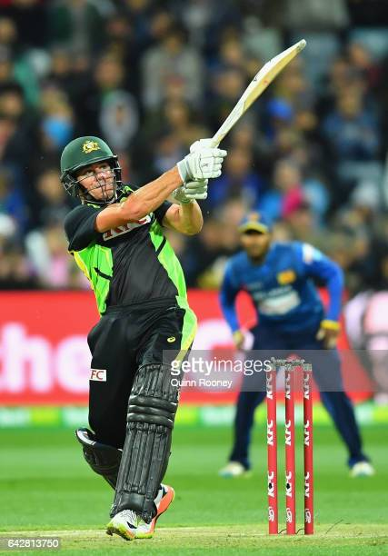 Moises Henriques of Australia bats during the second International Twenty20 match between Australia and Sri Lanka at Simonds Stadium on February 19...
