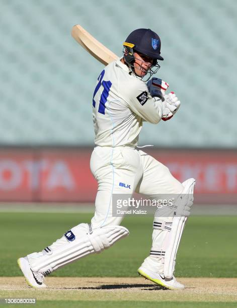 Moises Henriques of New South Wales bats during day four of the Sheffield Shield match between South Australia and New South Wales at Adelaide Oval...