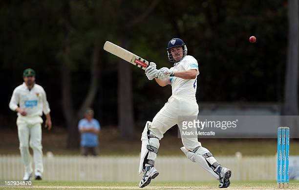 Moises Henriques of New South Wales bats during during day four of the Sheffield Shield match between the New South Wales Blues and the Tasmanian...