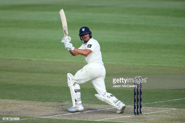 Moises Henriques of NSW bats during day two of the Sheffield Shield match between New South Wales and Victoria at North Sydney Oval on November 25...