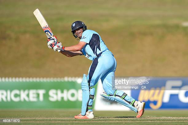 Moises Henriques of NSW bats during the Matador BBQs One Day Cup match between Queensland and New South Wales at Drummoyne Oval on October 16 2015 in...