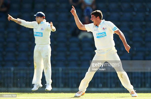 Moises Henriques of the Blues appeals for the wicket of Nathan CoulterNile of the Warriors during day one of the Sheffield Shield match between the...
