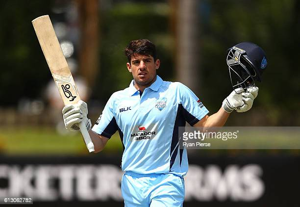 Moises Henriques of the Blues celebrates afetr reaching his century during the Matador BBQs One Day Cup match between New South Wales and the Cricket...