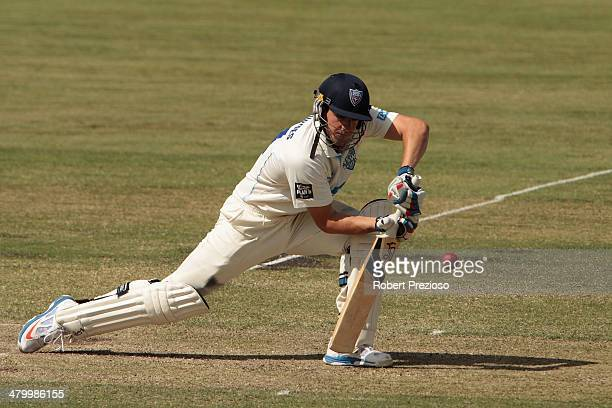 Moises Henriques of the Blues plays a shot during day two of the Sheffield Shield match between New South Wales Blues and the Western Australia...