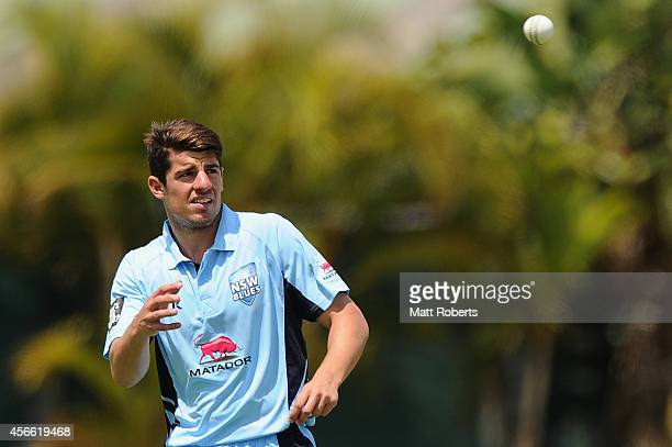 Moises Henriques of the Blues prepares to bowl during the Matador BBQs One Day Cup match between New South Wales and South Australia at Allan Border...
