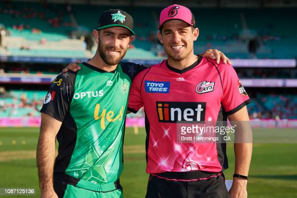Moises Henriques of the Sixers and Glenn Maxwell of the Stars pose for a photo prior to the Big Bash League match between the Sydney Sixers and the...