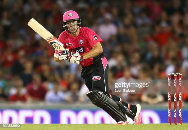 Moises Henriques of the Sixers bats during the Big Bash League match between the Melbourne Renegades and the Sydney Sixers at Etihad Stadium on...