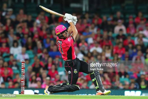 Moises Henriques of the Sixers bats during the Big Bash League match between the Sydney Sixers and the Sydney Thunder at Sydney Cricket Ground on...
