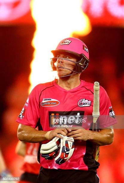 Moises Henriques of the Sixers leaves the field after being dismissed during the Big Bash League match between the Melbourne Renegades and the Sydney...