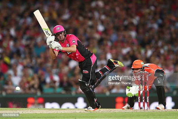 Moises Henriques of the Sixers plays a stroke on the leg side during the Big Bash League match between the Sydney Sixers and Perth Scorchers at...