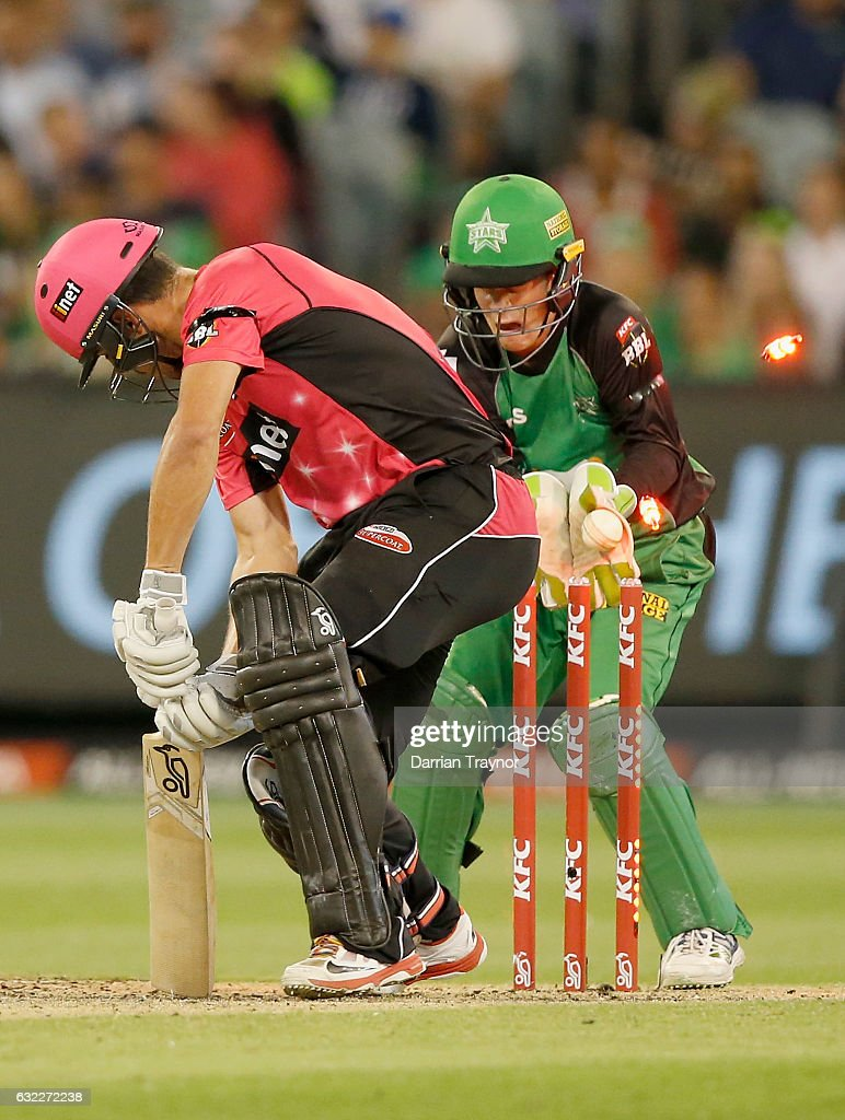 Moises Henriques of the Sydney Sixers is bowled by Liam Bowe of the Melbourne Stars during the Big Bash League match between the Melbourne Stars and the Sydney Sixers at Melbourne Cricket Ground on January 21, 2017 in Melbourne, Australia.
