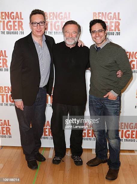 Moises Kaufman Robin Williams and Rajiv Joseph attends Bengal Tiger at the Baghdad Zoo Broadway cast photo call at The New 42nd Street Studios on...
