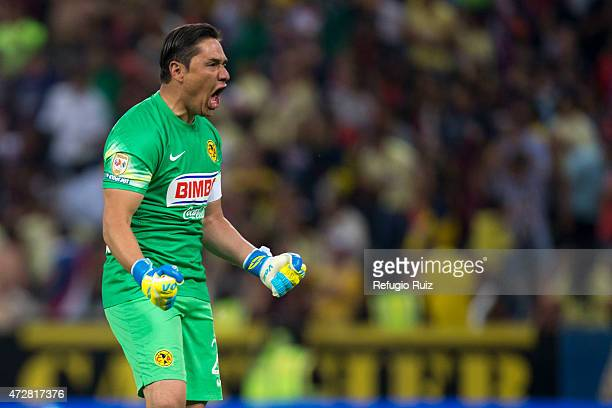 Moises Munoz goalkeeper of America celebrates during a match between Atlas and America as part of 17th round of Clausura 2015 Liga MX at Jalisco...