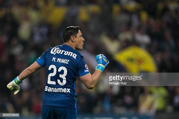 Moises Munoz goalkeeper of America celebrates the second goal of his team during the 2nd round match between Atlas and America as part of the...