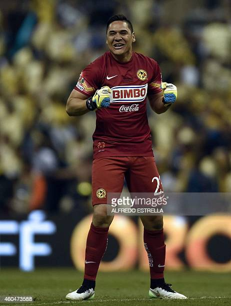 Moises Munoz goalkeeper of America celebrates the third goal of the team against Tigres during their Mexican Clausura 2014 tournament final football...