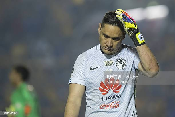 Moises Munoz goalkeeper of America reacts during the penalty round of the Final second leg match between Tigres UANL and America as part of the...