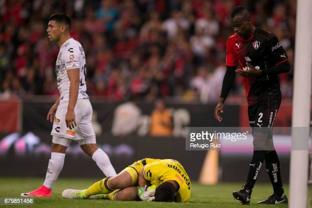Moises Munoz goalkeeper of Chiapas holds the ball during the 17th round match between Atlas and Chiapas as part of the Torneo Clausura 2017 Liga MX...