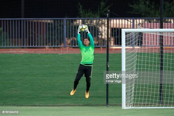 Moises Munoz goalkeeper of Mexico jumps for the ball during the Mexico National Team training session ahead it's match against Honduras at Grand...