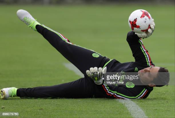 Moises Munoz in action during a training session of the Mexico National Team ahead of its participation in the Concacaf Gold Cup 2017 at CAR on June...