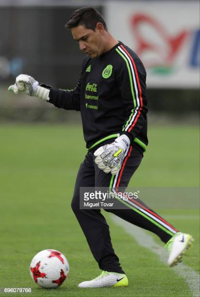 Moises Munoz kicks the ball during a training session of the Mexico National Team ahead of its participation in the Concacaf Gold Cup 2017 at CAR on...