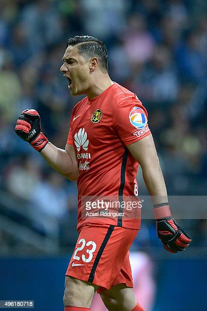 Moises Muñoz goalkeeper of America celebrate after teammate Carlos Quintero scored his team's first goal during the 16th round match between...