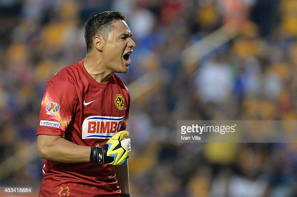 Moises Muñoz goalkeeper of America celebrates during a match between Tigres UANL and America as part of 4th round Apertura 2014 Liga MX at...