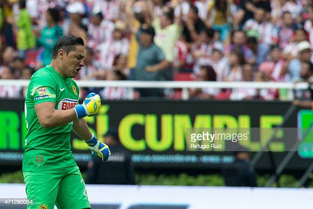 Moises Muñoz goalkeeper of America celebrates his team's goal during a match between Chivas and America as part of 15th round of Clausura 2015 Liga...