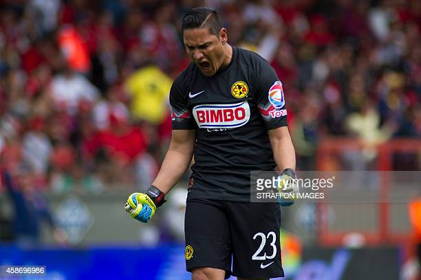 Moises Muñoz goalkeeper of America celebrates the opening goal of his team during a match between Toluca and America as part of 16th round Apertura...