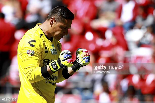 Moises Muñoz goalkeeper of Chiapas celebrates after the first goal of his team during a match between Toluca and Chiapas as part of the Clausura 2017...