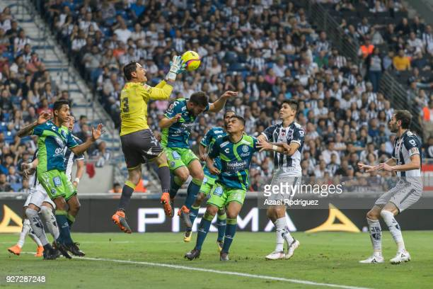 Moises Muñoz goalkeeper of Puebla catches the ball during the 10th round match between Monterrey and Puebla as part of the Torneo Clausura 2018 Liga...