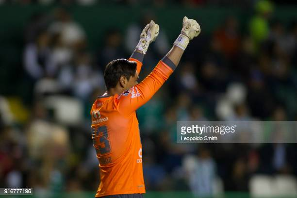 Moises Muñoz goalkeeper of Puebla celebrates the first goal of his team scored by his teammate Christian Tabo during the 6th round match between Leon...