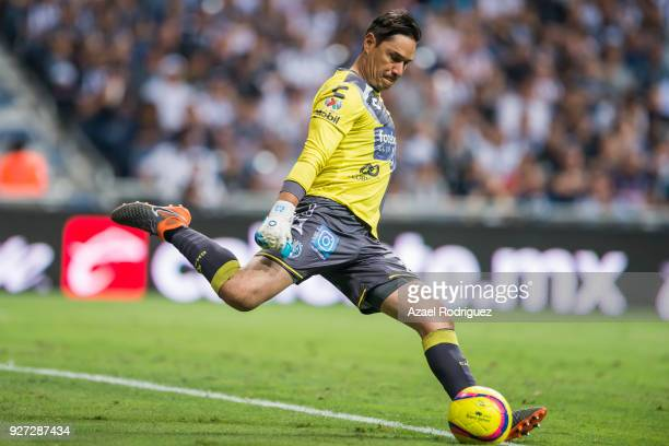 Moises Muñoz goalkeeper of Puebla kicks the ball during the 10th round match between Monterrey and Puebla as part of the Torneo Clausura 2018 Liga MX...