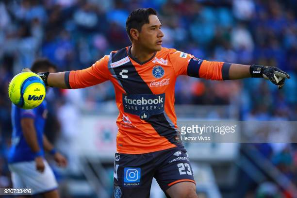 Moises Muñoz goalkeeper of Puebla looks on during the 8th round match between Cruz Azul and Puebla as part of the Torneo Clausura 2018 Liga MX at...