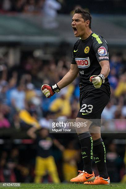 Moises Mu–ñoz of America celebrates a goal of his team during a match between America and Pumas UNAM as part of the Clausura 2014 Liga MX at Azteca...