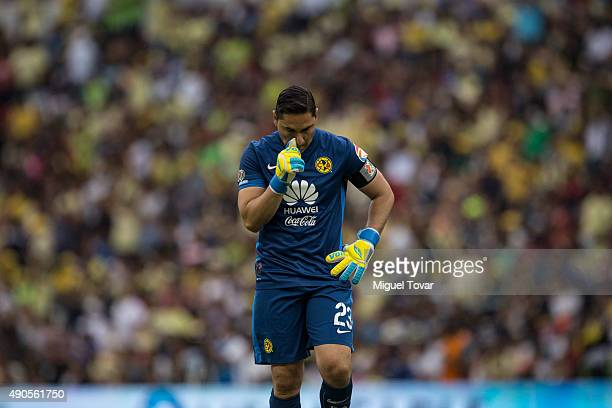 Moises Muñoz of America reacts after losing against Atlas during a 2nd round match between America and Atlas as part of the Apertura 2015 Liga MX at...