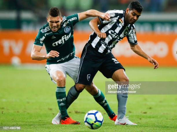 Moises of Palmeiras and Brenner of Botafogo compete for the ball during the match for the Brasileirao Series A 2018 at Allianz Parque Stadium on...