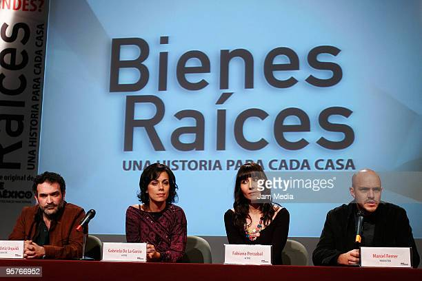 Moises Ortiz Urquidi Gabriela de la Garza Fabiana Perzabal and Marcel Ferrer during the press conference of the new Tv series named 'Bienes Raices'...
