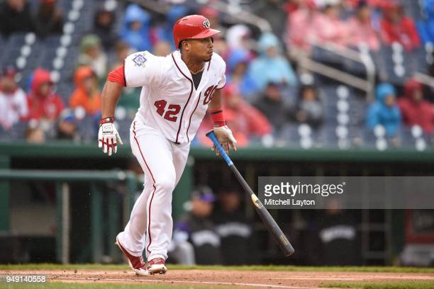 Moises Sierra of the Washington Nationals takes a swing during a baseball game against the Colorado Rockies at Nationals Park on April 15 2018 in...
