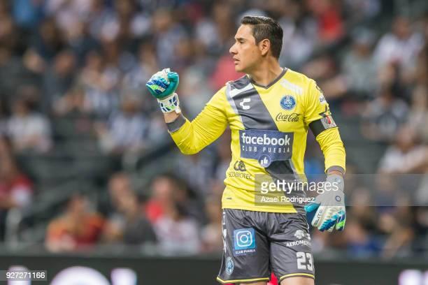 Moisés Muñoz goalkeeper of Puebla celebrates the second goal of his team scored by his teammate Luis Gerardo Venegas during the 10th round match...