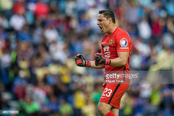 Moisés Muñoz of America celebrates a goal of his team during a 7th round match between Cruz Azul and America as part of the Apertura 2015 Liga MX at...
