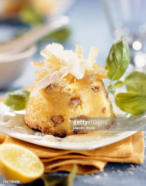 moist sponge with coconut, lemon and basil sauce