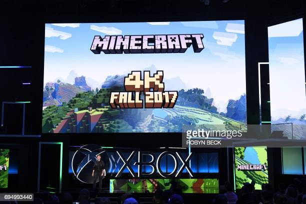 Mojang's Brand Director Lydia Winters introduces Minecraft 4K at the Microsoft Xbox E3 2017 Briefing June 11 2017 at the Galen Center in Los Angeles...