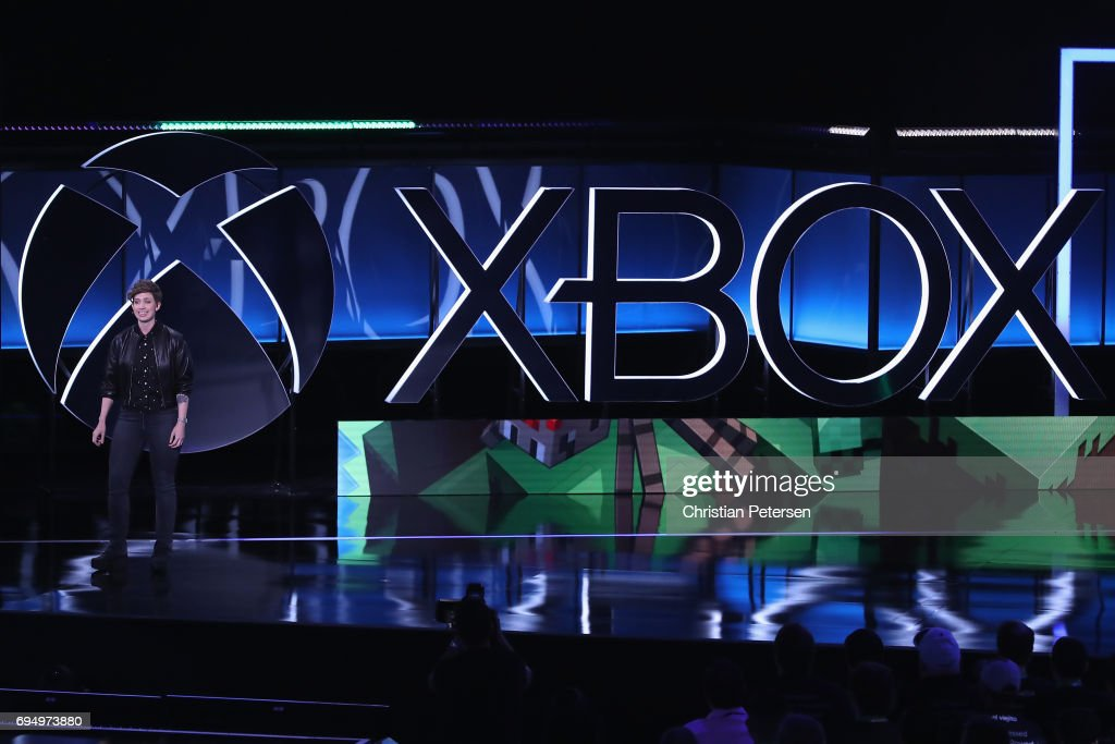 Mojang's Brand Director Lydia Winters speaks about 'Minecraft' during the Microsoft xBox E3 briefing at the Galen Center on June 11, 2017 in Los Angeles, California. The E3 Game Conference begins on Tuesday June 13.