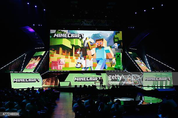 Mojang's 'Director of Fun' Lydia Winters speaks about 'Minecraft' during the Microsoft Xbox E3 press conference at the Galen Center on June 15 2015...