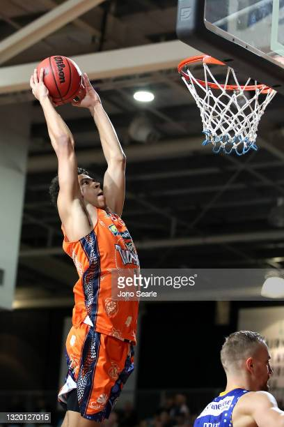 Mojave King of the Taipans dunks the ball during the round 20 NBL match between the Cairns Taipans and the Brisbane Bullets at Cairns Pop Up Arena,...