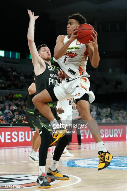 Mojave King of the Taipans grabs the inbound pass during the round 18 NBL match between South East Melbourne Phoenix and Cairns Taipans at John Cain...