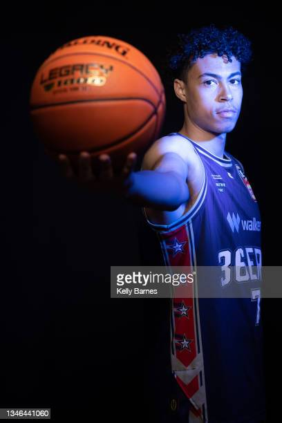 Mojave King poses during a portrait session after joining the Adelaide 36ers for the upcoming NBL season, on October 13, 2021 in Adelaide, Australia.