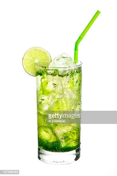mojito cocktail on white background. - mojito stock photos and pictures