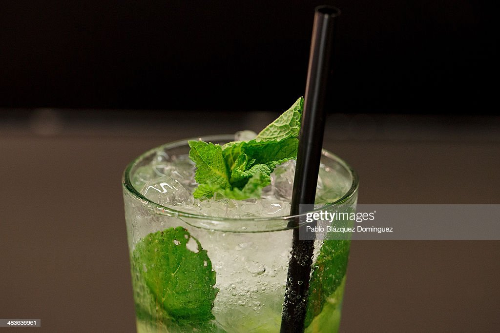 A Mojito cocktail stands on a table during the Mix&Shake congress at 'El Matadero' on April 9, 2014 in Madrid, Spain. Mix&Shake is a conference for professionals of the cocktail bartending industry.